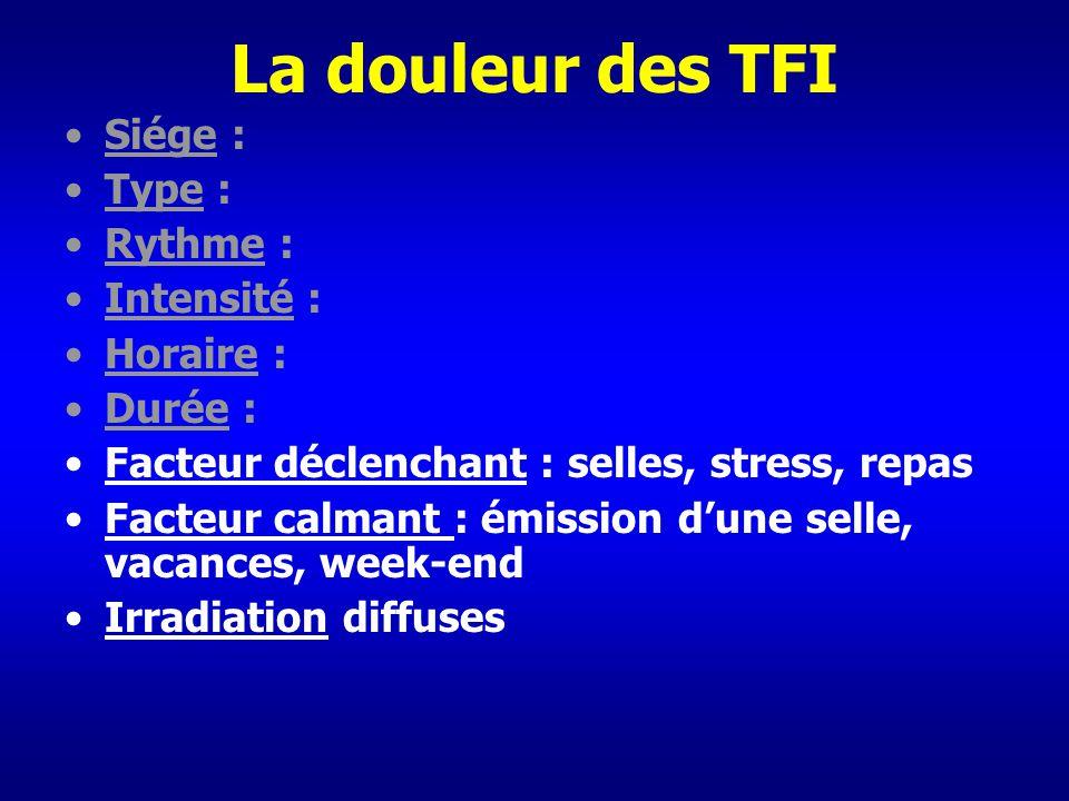 La douleur des TFI Siége : Type : Rythme : Intensité : Horaire : Durée : Facteur déclenchant : selles, stress, repas Facteur calmant : émission dune s