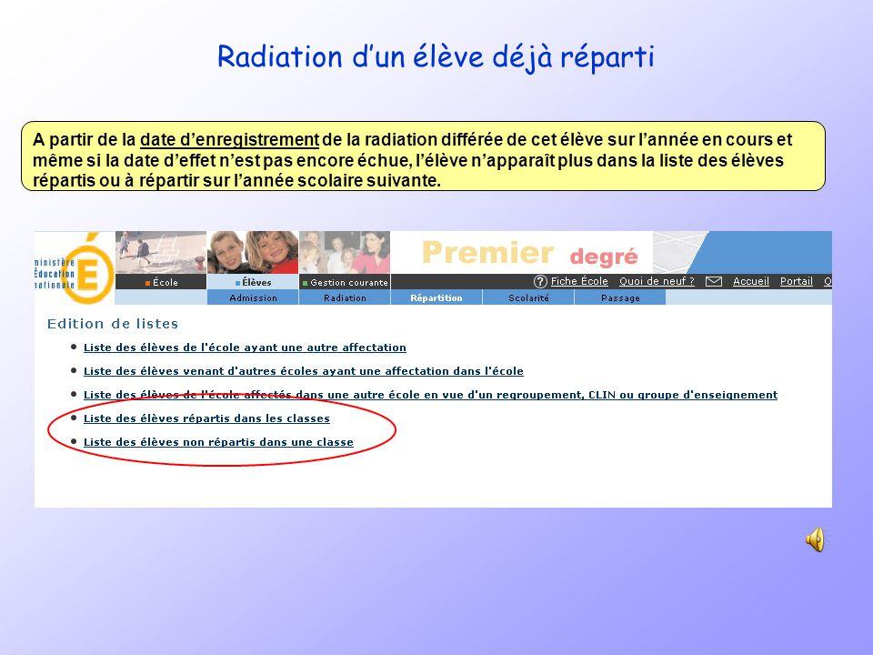 Radiation dun élève déjà réparti Dans le menu Elèves/radiation le directeur sélectionne lélève quil souhaite radier. Il clique sur le bouton « radiati