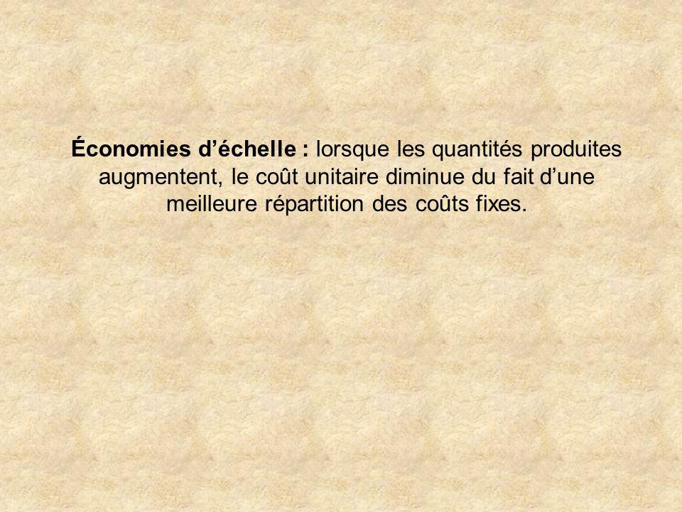 Économies déchelle : lorsque les quantités produites augmentent, le coût unitaire diminue du fait dune meilleure répartition des coûts fixes.