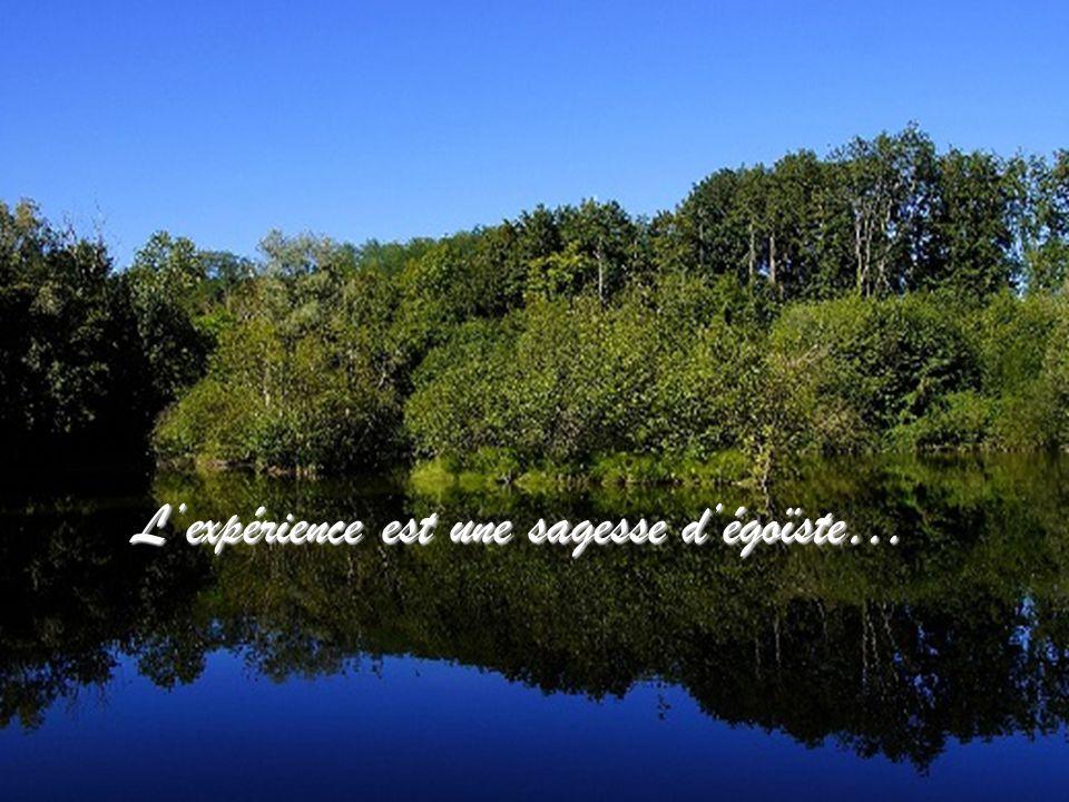 Lexpérience est une sagesse dégoïste…