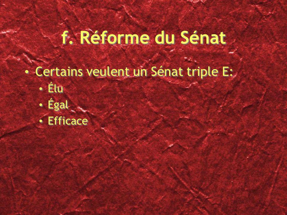 f. Réforme du Sénat Certains veulent un Sénat triple E: Élu Égal Efficace Certains veulent un Sénat triple E: Élu Égal Efficace