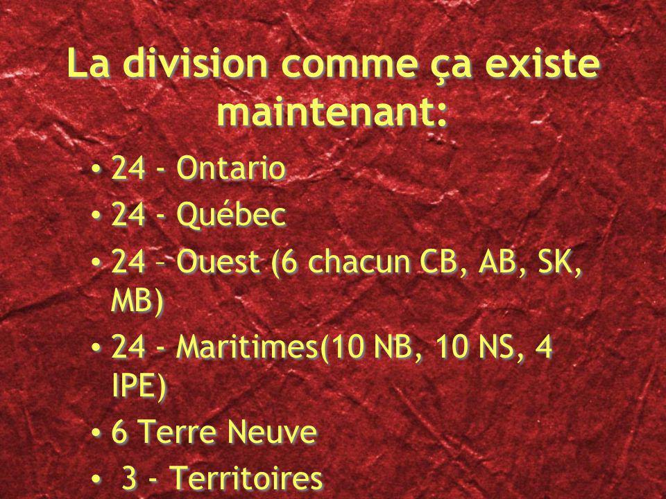 La division comme ça existe maintenant: 24 - Ontario 24 - Québec 24 – Ouest (6 chacun CB, AB, SK, MB) 24 - Maritimes(10 NB, 10 NS, 4 IPE) 6 Terre Neuve 3 - Territoires 24 - Ontario 24 - Québec 24 – Ouest (6 chacun CB, AB, SK, MB) 24 - Maritimes(10 NB, 10 NS, 4 IPE) 6 Terre Neuve 3 - Territoires