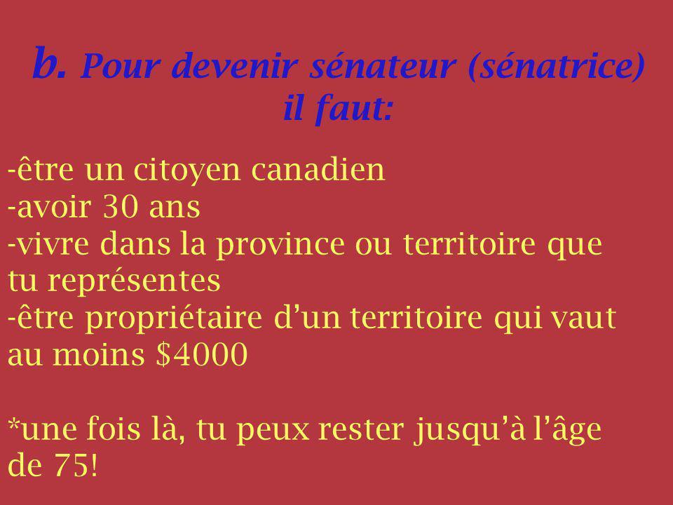 b. Pour devenir sénateur (sénatrice) il faut: -être un citoyen canadien -avoir 30 ans -vivre dans la province ou territoire que tu représentes -être p