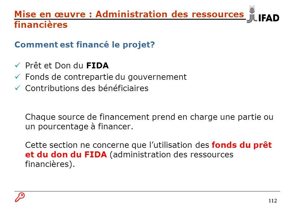 112 Comment est financé le projet? Prêt et Don du FIDA Fonds de contrepartie du gouvernement Contributions des bénéficiaires Chaque source de financem
