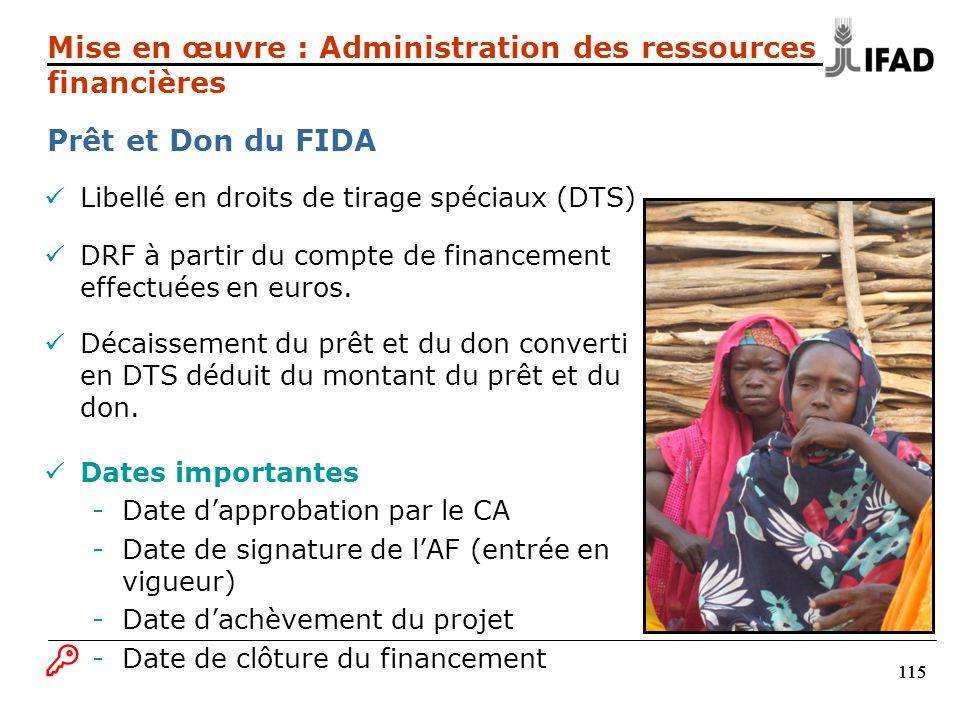115 Libellé en droits de tirage spéciaux (DTS) DRF à partir du compte de financement effectuées en euros. Décaissement du prêt et du don converti en D