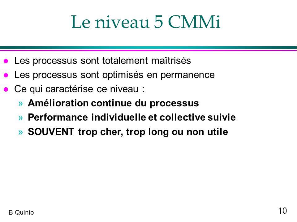 10 B Quinio l Les processus sont totalement maîtrisés l Les processus sont optimisés en permanence l Ce qui caractérise ce niveau : »Amélioration cont