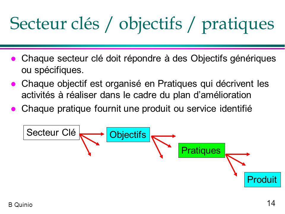 14 B Quinio l Chaque secteur clé doit répondre à des Objectifs génériques ou spécifiques. l Chaque objectif est organisé en Pratiques qui décrivent le