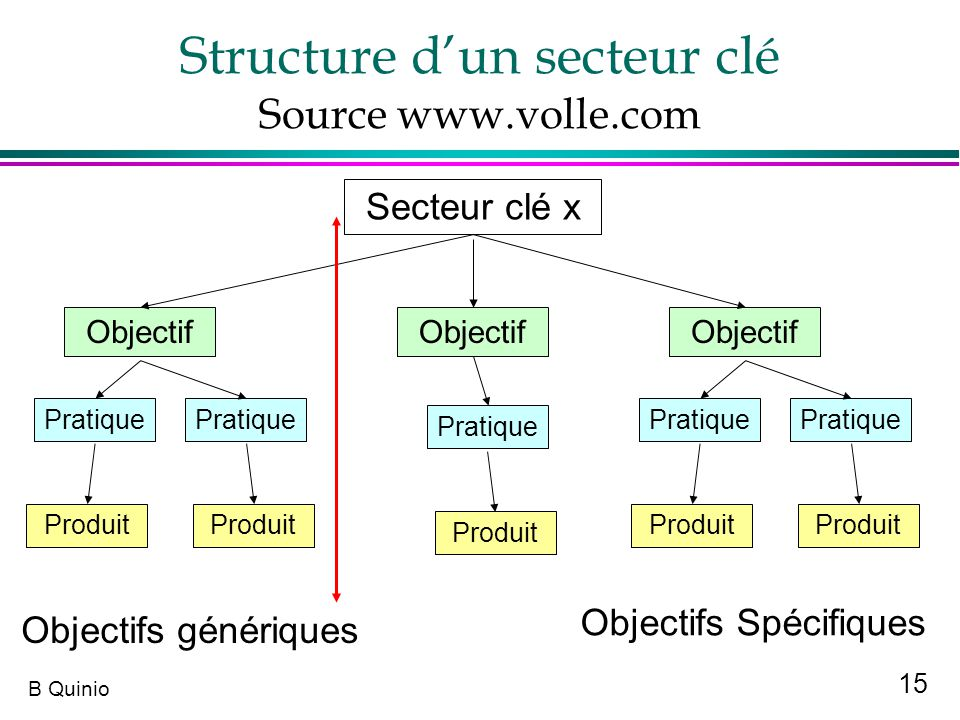 15 B Quinio Structure dun secteur clé Source www.volle.com Secteur clé x Objectif Pratique Produit Objectifs génériques Pratique Produit Objectifs Spé