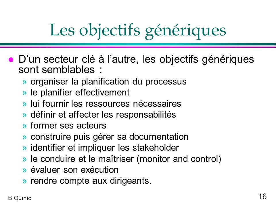 16 B Quinio Les objectifs génériques l Dun secteur clé à lautre, les objectifs génériques sont semblables : »organiser la planification du processus »