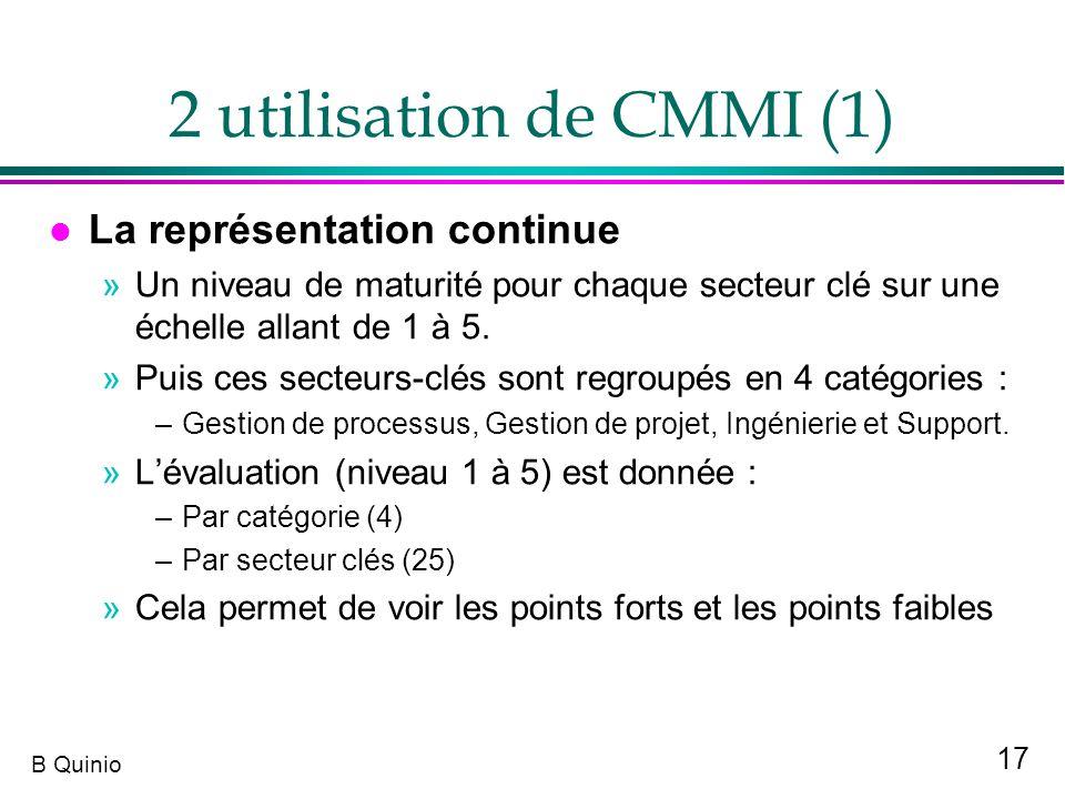 17 B Quinio 2 utilisation de CMMI (1) l La représentation continue »Un niveau de maturité pour chaque secteur clé sur une échelle allant de 1 à 5. »Pu