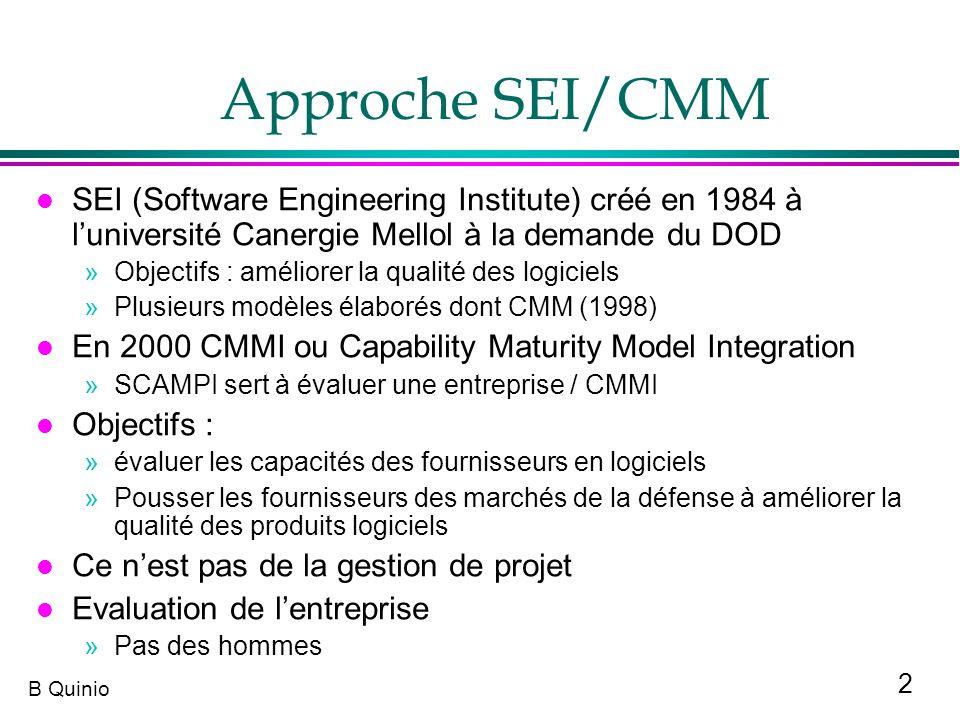 2 B Quinio Approche SEI/CMM l SEI (Software Engineering Institute) créé en 1984 à luniversité Canergie Mellol à la demande du DOD »Objectifs : amélior