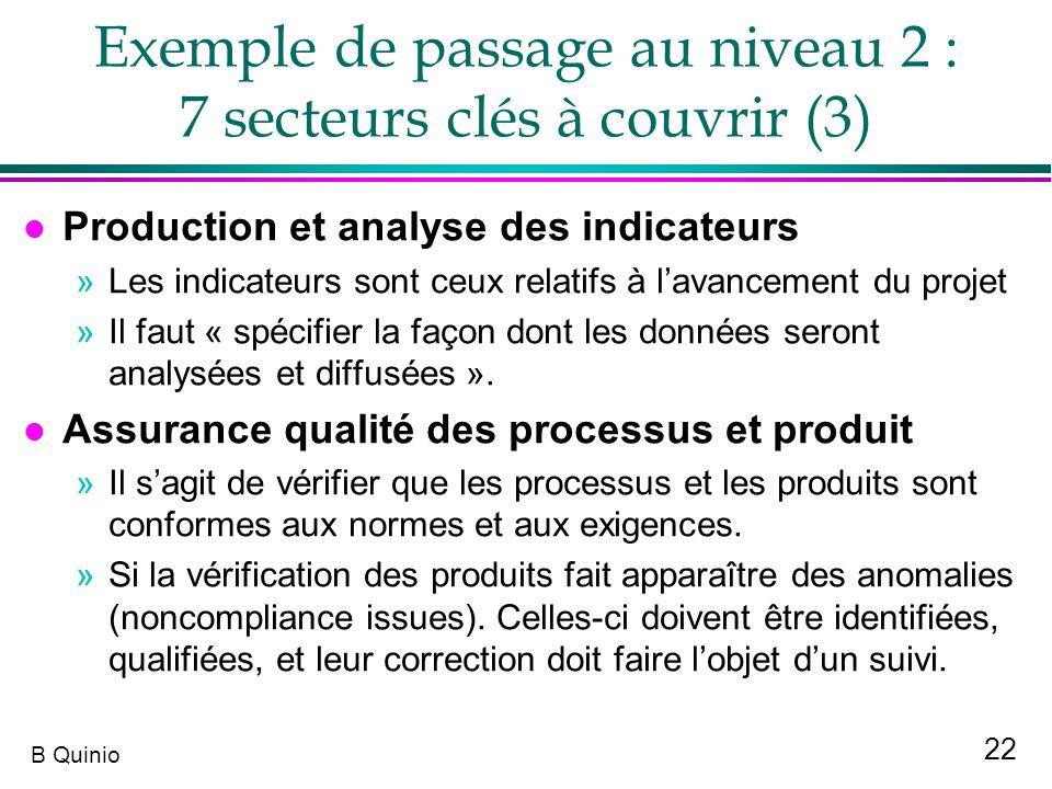 22 B Quinio Exemple de passage au niveau 2 : 7 secteurs clés à couvrir (3) l Production et analyse des indicateurs »Les indicateurs sont ceux relatifs