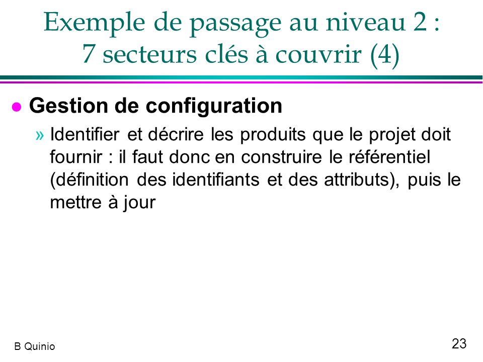 23 B Quinio Exemple de passage au niveau 2 : 7 secteurs clés à couvrir (4) l Gestion de configuration »Identifier et décrire les produits que le proje