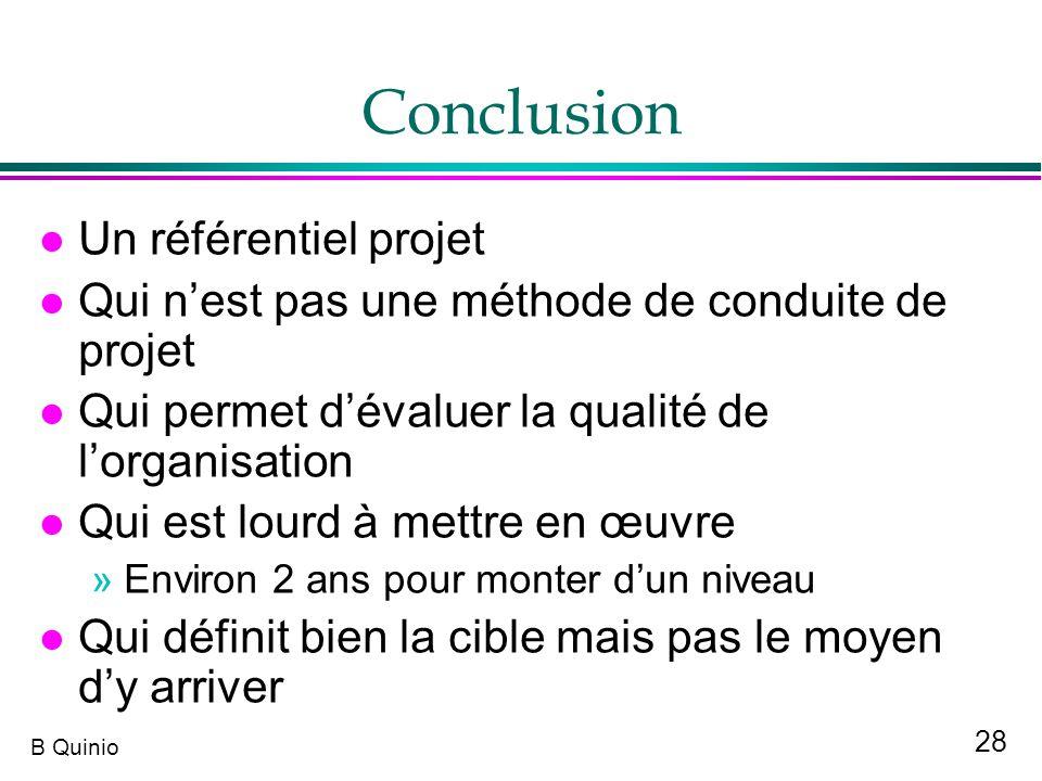 28 B Quinio Conclusion l Un référentiel projet l Qui nest pas une méthode de conduite de projet l Qui permet dévaluer la qualité de lorganisation l Qu