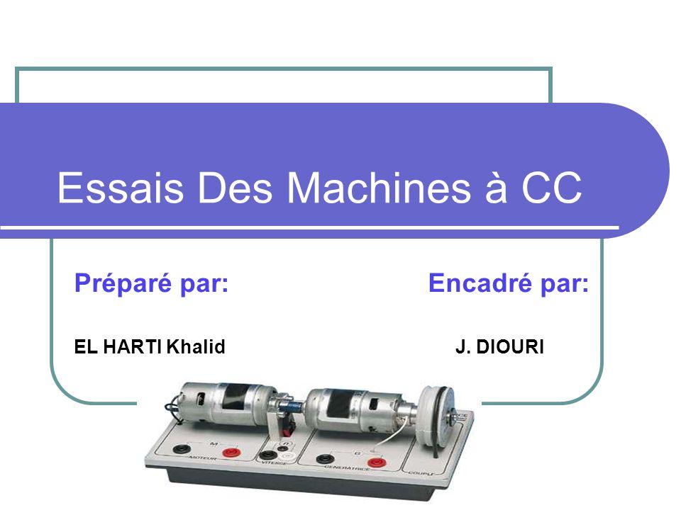 Essais Des Machines à CC Préparé par: Encadré par: EL HARTI Khalid J. DIOURI
