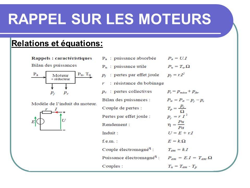 RAPPEL SUR LES MOTEURS Relations et équations: