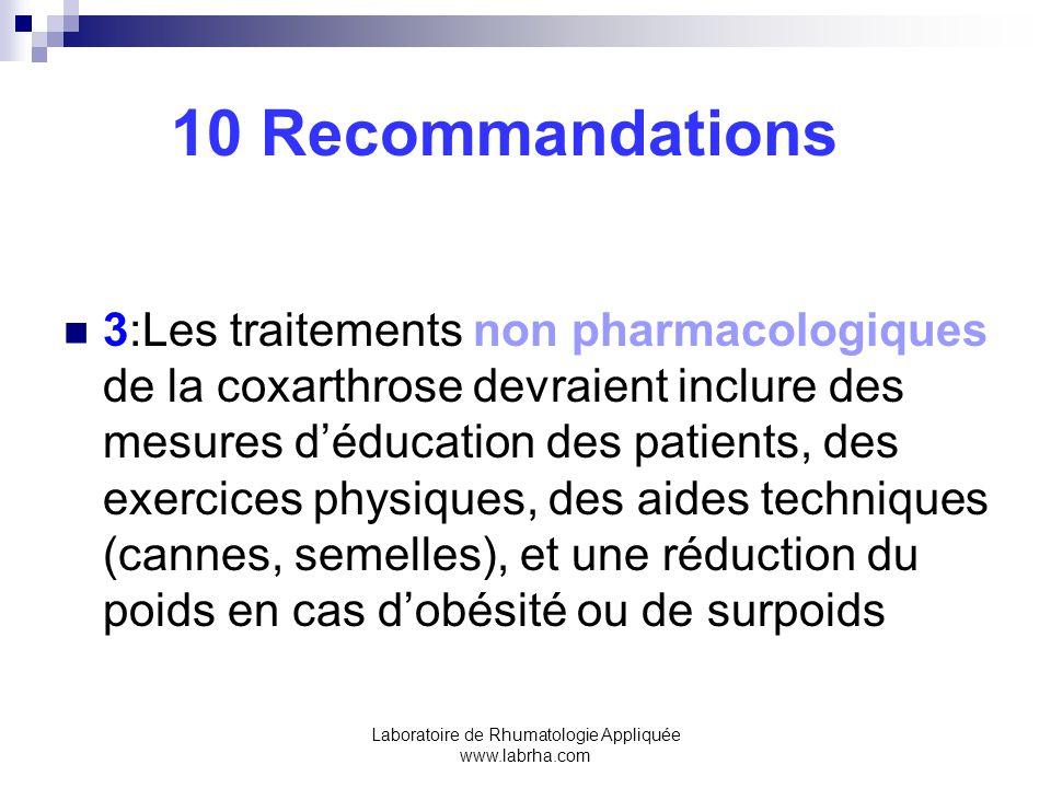 Laboratoire de Rhumatologie Appliquée www.labrha.com 10 Recommandations 3:Les traitements non pharmacologiques de la coxarthrose devraient inclure des