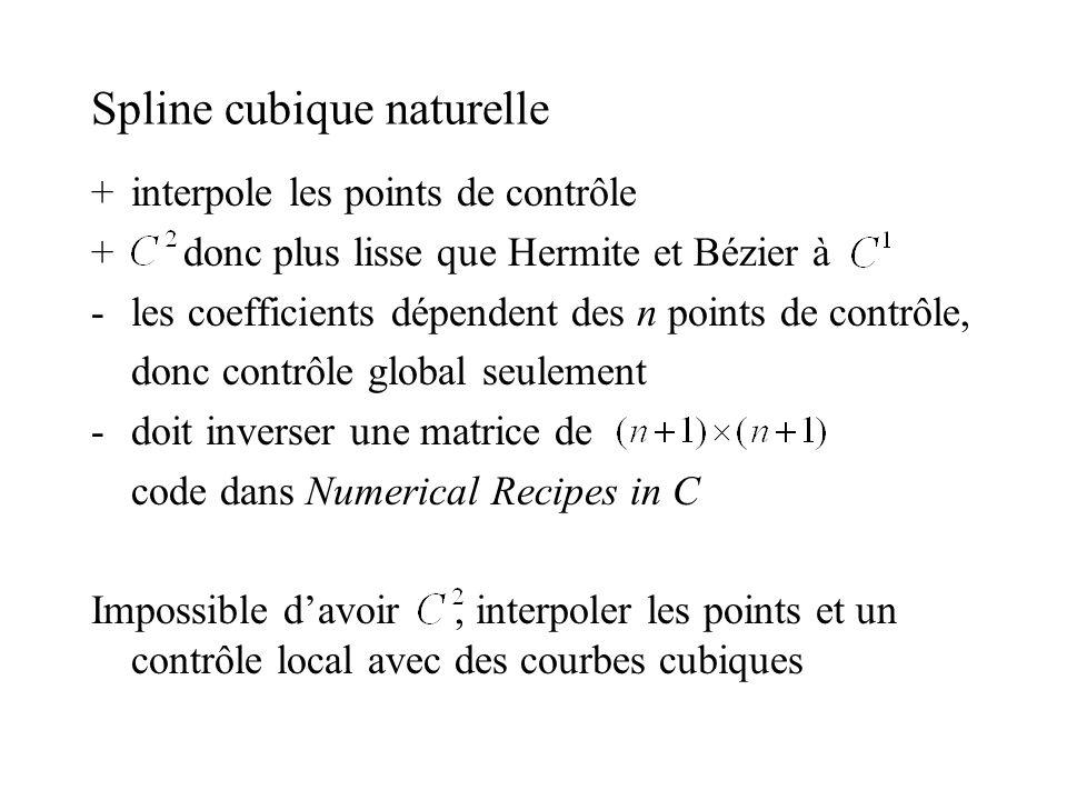 Spline cubique naturelle +interpole les points de contrôle + donc plus lisse que Hermite et Bézier à -les coefficients dépendent des n points de contrôle, donc contrôle global seulement -doit inverser une matrice de code dans Numerical Recipes in C Impossible davoir, interpoler les points et un contrôle local avec des courbes cubiques