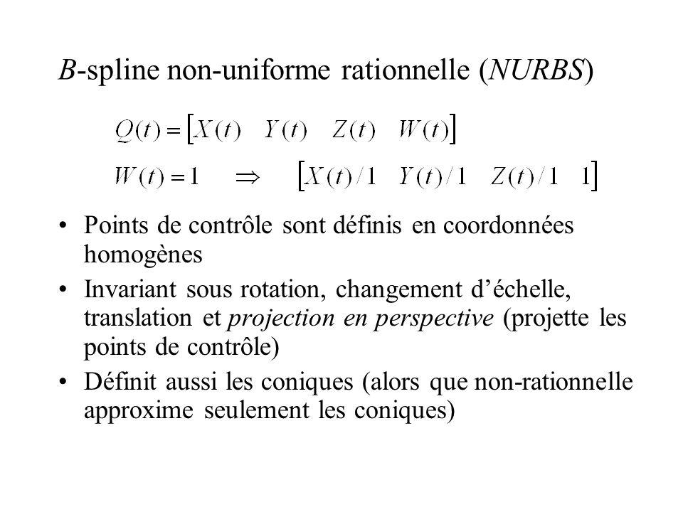 B-spline non-uniforme rationnelle (NURBS) Points de contrôle sont définis en coordonnées homogènes Invariant sous rotation, changement déchelle, translation et projection en perspective (projette les points de contrôle) Définit aussi les coniques (alors que non-rationnelle approxime seulement les coniques)
