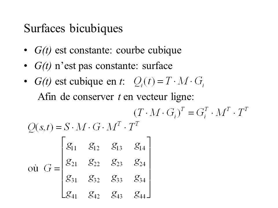 Surfaces bicubiques G(t) est constante: courbe cubique G(t) nest pas constante: surface G(t) est cubique en t: Afin de conserver t en vecteur ligne: