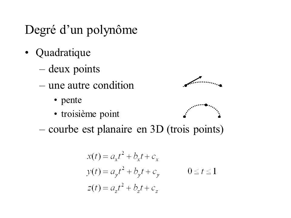 Degré dun polynôme Quadratique –deux points –une autre condition pente troisième point –courbe est planaire en 3D (trois points)