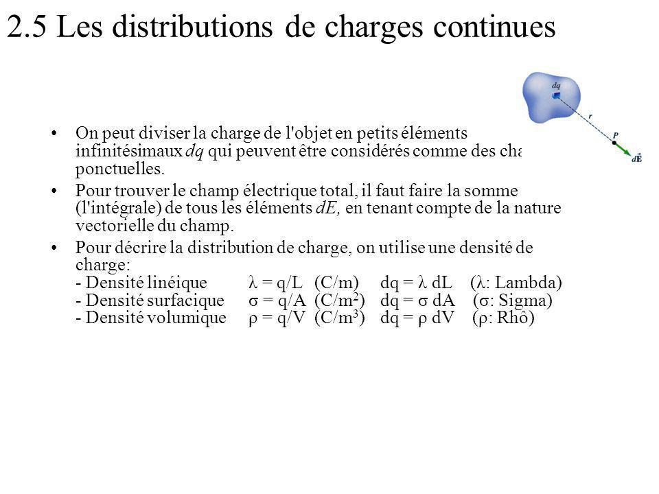 2.5 Les distributions de charges continues On peut diviser la charge de l objet en petits éléments infinitésimaux dq qui peuvent être considérés comme des charges ponctuelles.