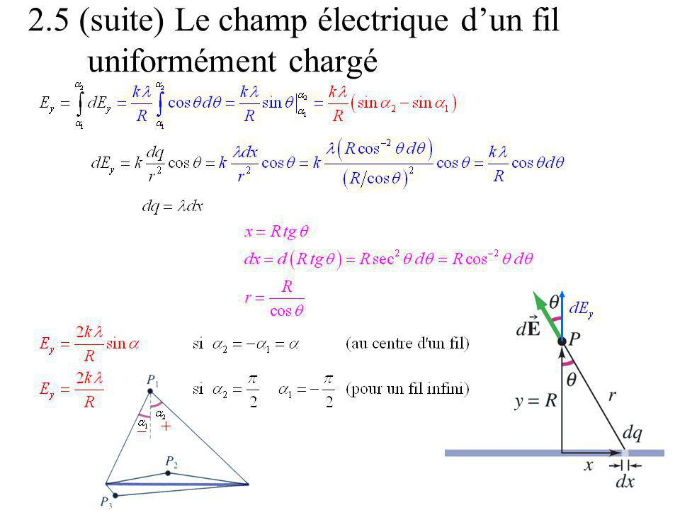 2.5 (suite) Le champ électrique dun fil uniformément chargé