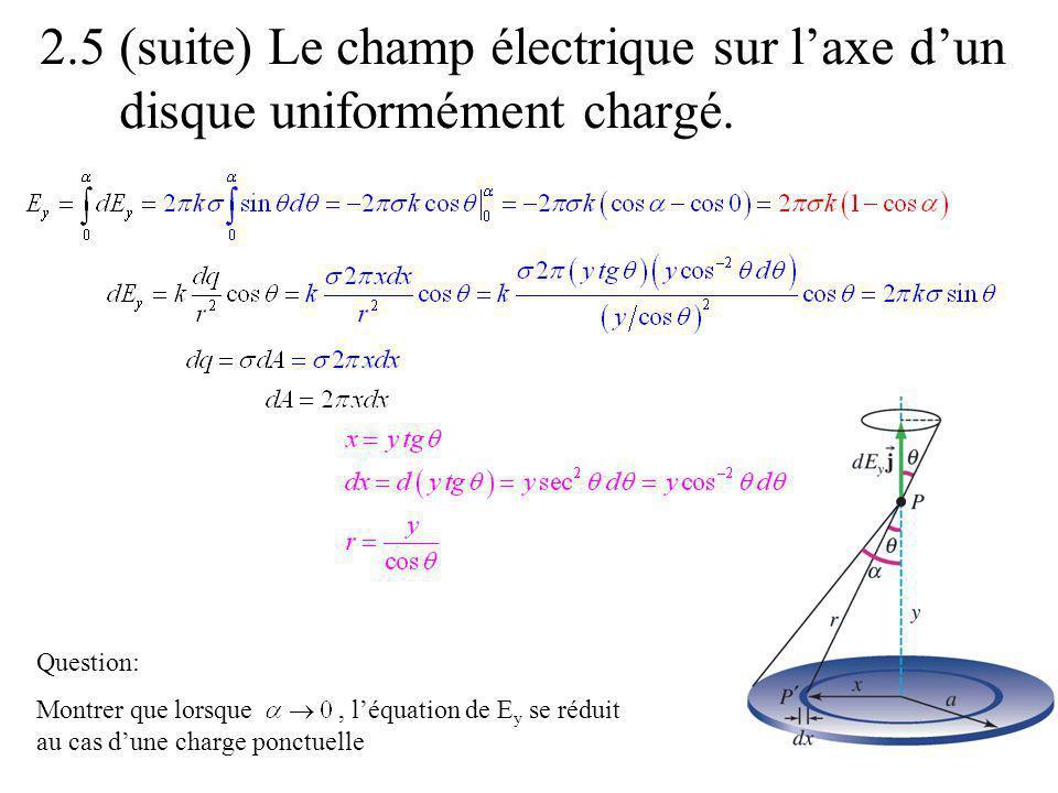 2.5 (suite) Le champ électrique sur laxe dun disque uniformément chargé. Question: Montrer que lorsque, léquation de E y se réduit au cas dune charge