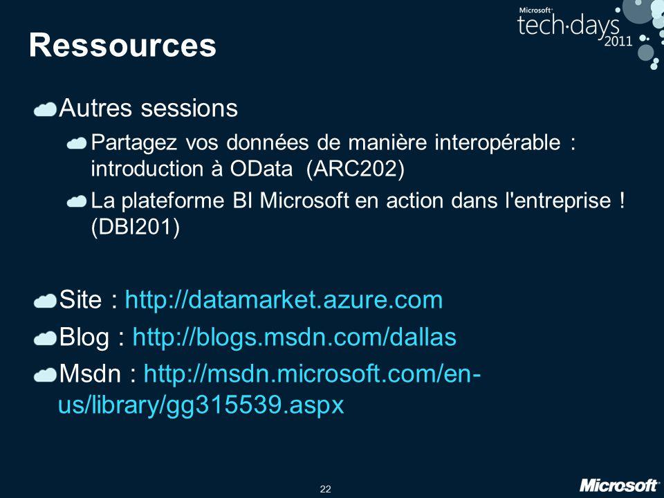 22 Ressources Autres sessions Partagez vos données de manière interopérable : introduction à OData (ARC202) La plateforme BI Microsoft en action dans l entreprise .