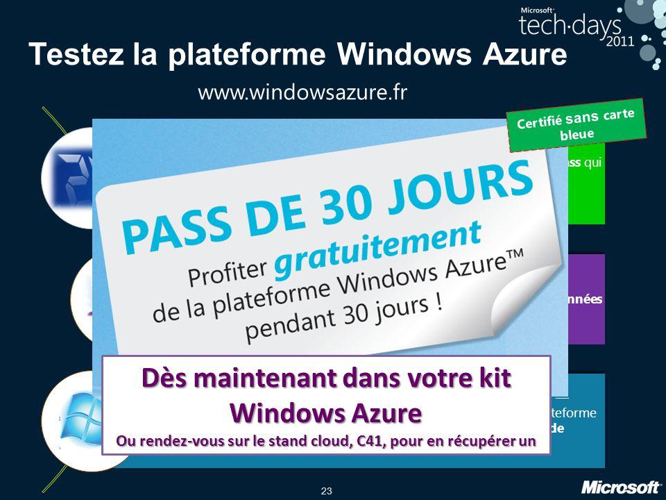 23 Testez la plateforme Windows Azure Explorez linfini en 24h au travers de 3 exercices et repartez avec un Pass qui vous permet daccéder à un vrai compte Windows Azure gratuitement pendant 30 jours.