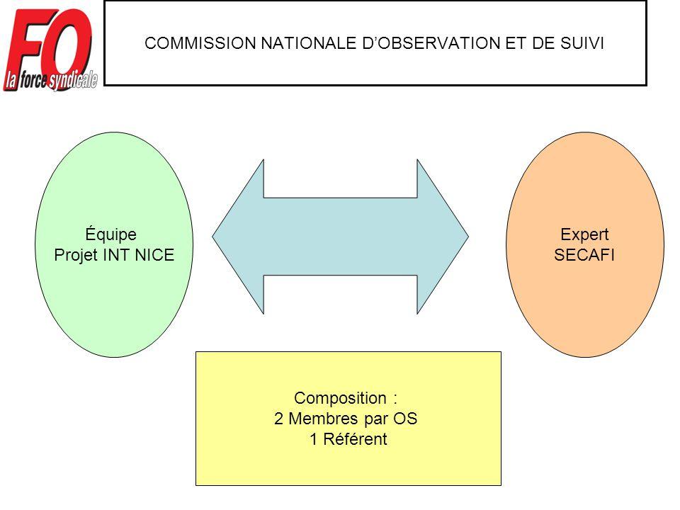 COMMISSION NATIONALE DOBSERVATION ET DE SUIVI Expert SECAFI Équipe Projet INT NICE Composition : 2 Membres par OS 1 Référent