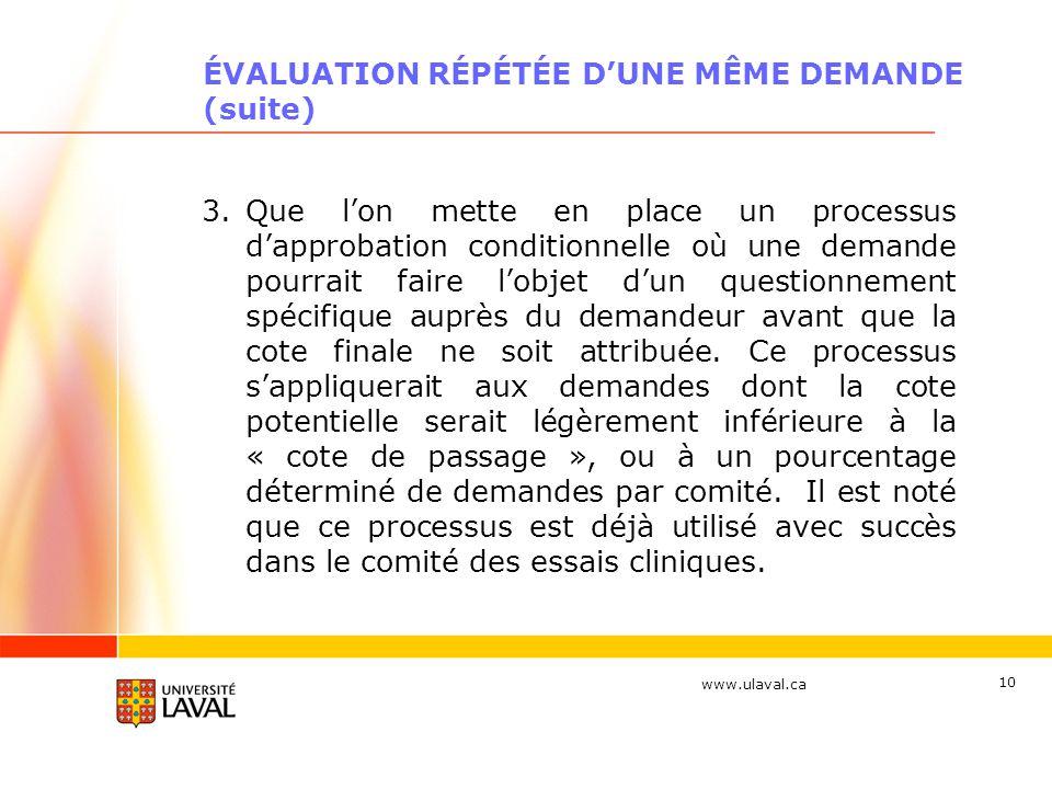 www.ulaval.ca 10 ÉVALUATION RÉPÉTÉE DUNE MÊME DEMANDE (suite) 3.Que lon mette en place un processus dapprobation conditionnelle où une demande pourrai