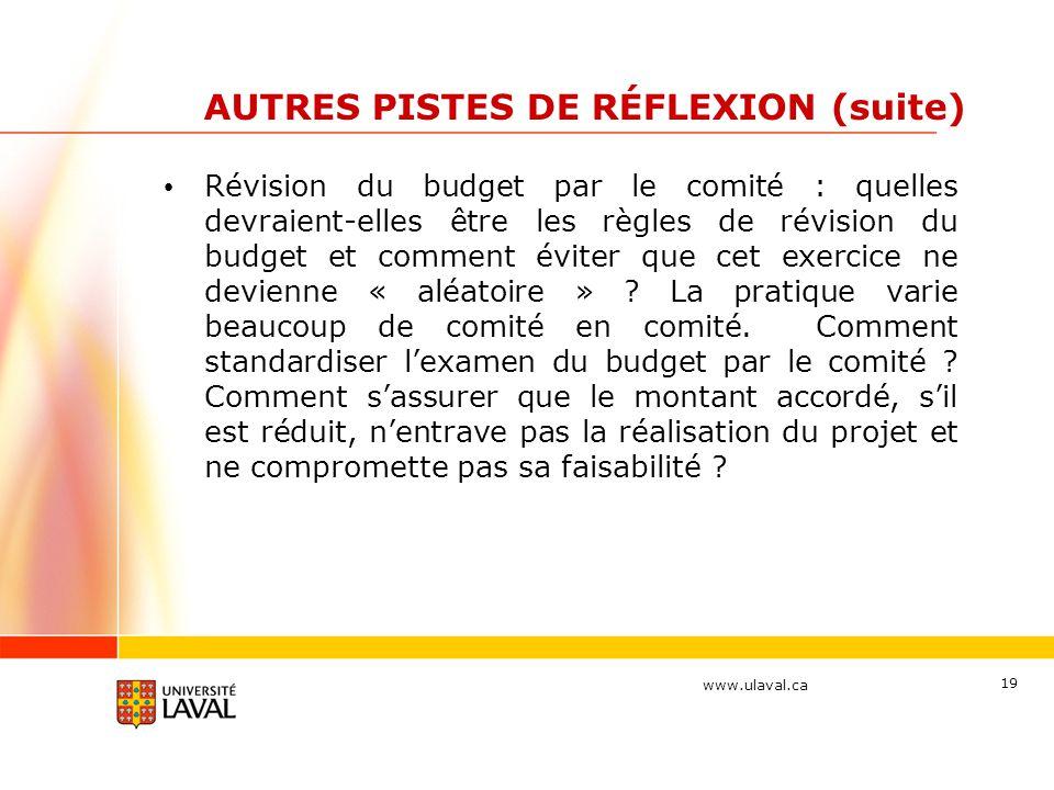 www.ulaval.ca 19 AUTRES PISTES DE RÉFLEXION (suite) Révision du budget par le comité : quelles devraient-elles être les règles de révision du budget e
