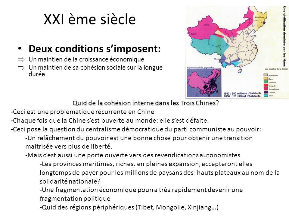 XXI ème siècle Deux conditions simposent: Un maintien de la croissance économique Un maintien de sa cohésion sociale sur la longue durée Quid de la cohésion interne dans les Trois Chines.