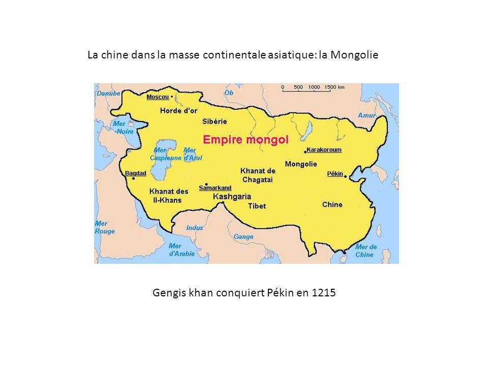 La chine dans la masse continentale asiatique: la Mongolie Gengis khan conquiert Pékin en 1215