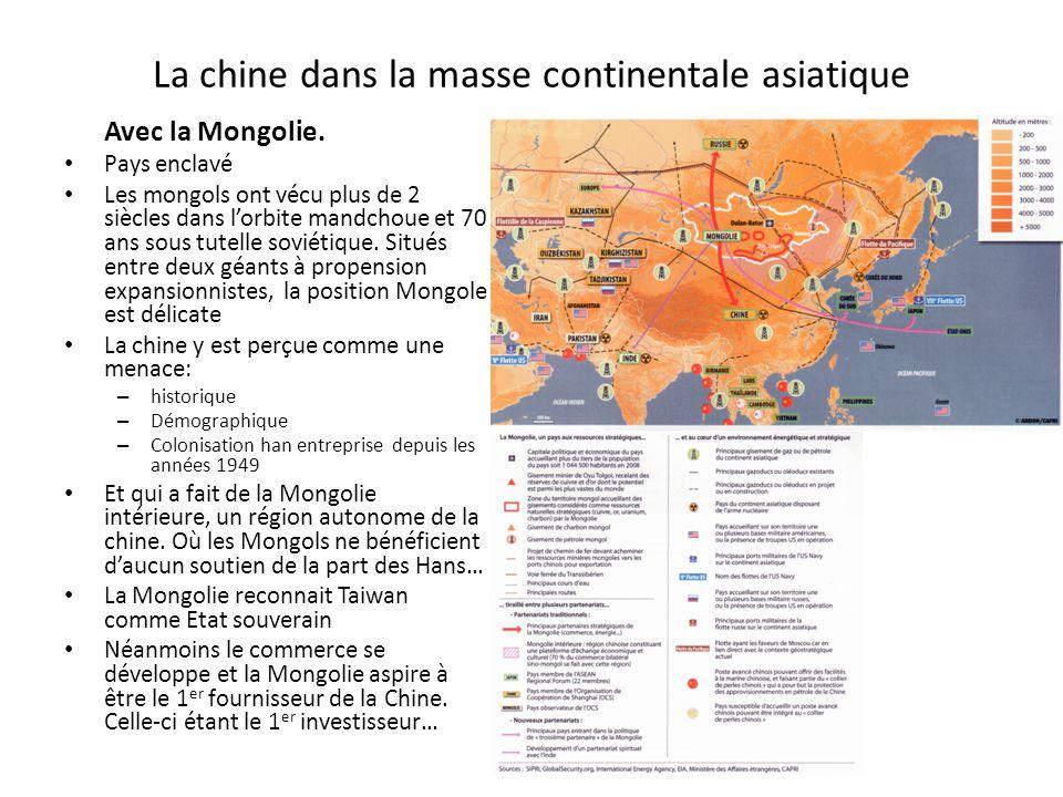 La chine dans la masse continentale asiatique Avec la Mongolie.
