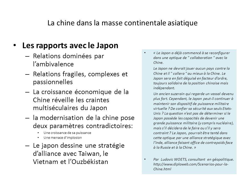 La chine dans la masse continentale asiatique Les rapports avec le Japon – Relations dominées par lambivalence – Relations fragiles, complexes et passionnelles – La croissance économique de la Chine réveille les craintes multiséculaires du Japon – la modernisation de la chine pose deux paramètres contradictoires: Une croissance de sa puissance Une menace dimplosion – Le japon dessine une stratégie dalliance avec Taiwan, le Vietnam et lOuzbékistan « Le Japon a déjà commencé à se reconfigurer dans une optique de collaboration avec la Chine.