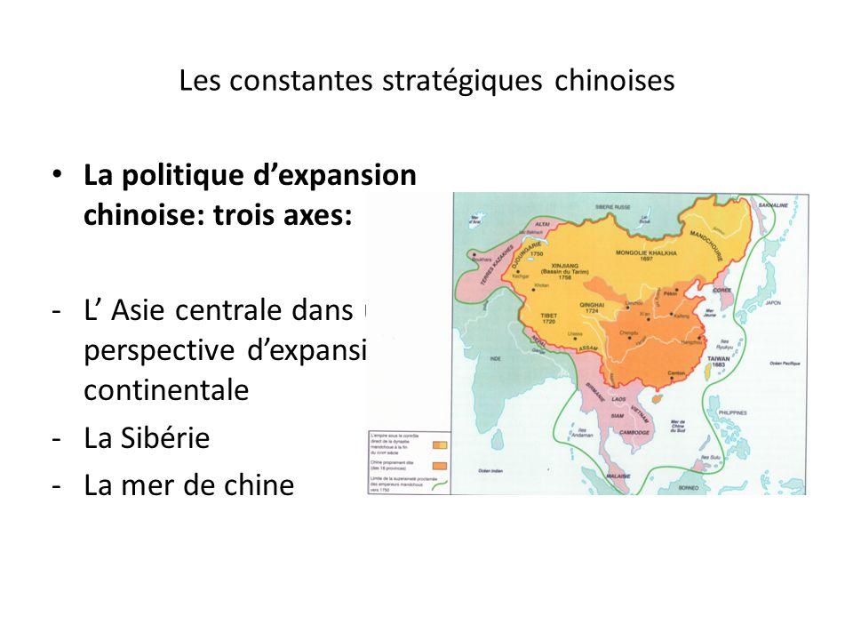 Les constantes stratégiques chinoises La politique dexpansion chinoise: trois axes: -L Asie centrale dans une perspective dexpansion continentale -La Sibérie -La mer de chine