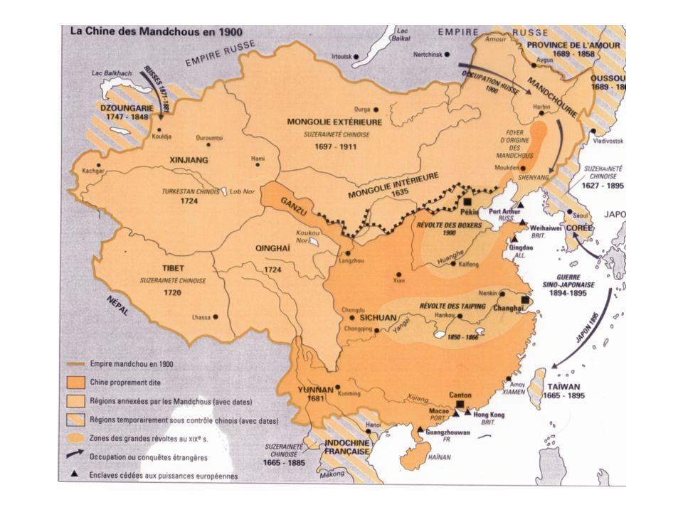 La phase du XIXème siècle époque du dépeçage de la Chine Espace de tous les dangers: Rétractation sous la poussée Russe en Asie Centrale Convoitise des puissances Européennes Expansion de linfluence Japonaise 1840 - 42 : les traités inégaux