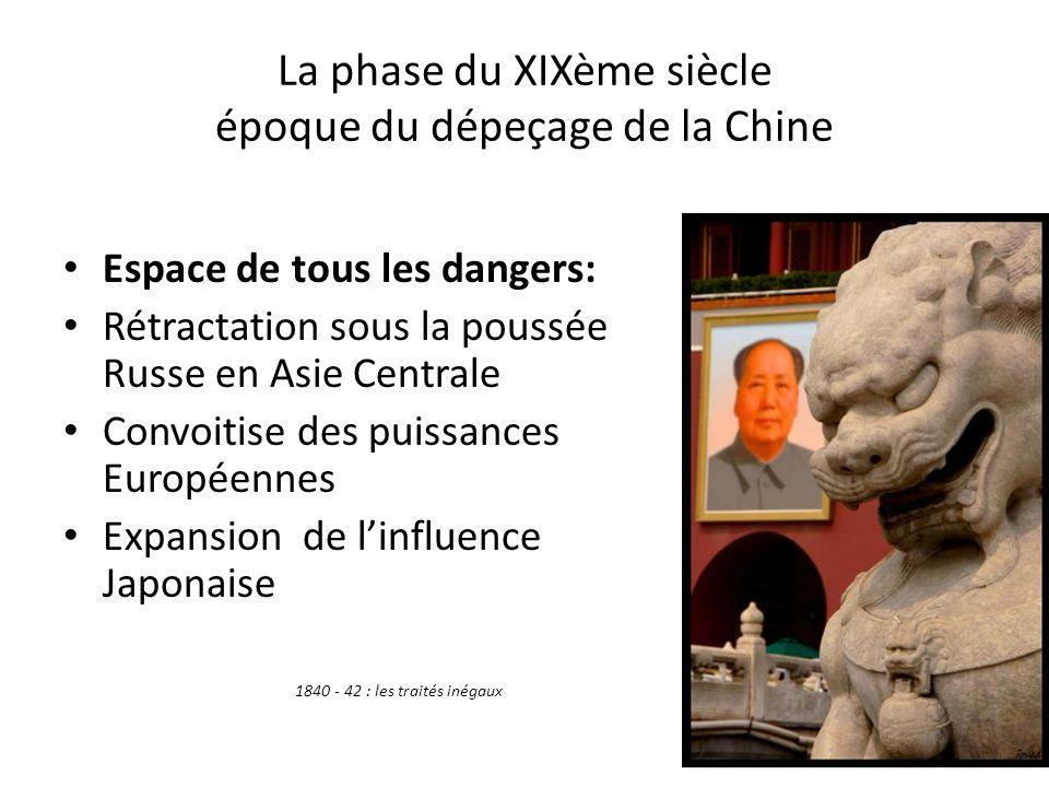 XXème siècle 1911: arrivée de la République Chang Kaï-chek un leader du Kouo-Min-Tang devient premier Président de la République 1949: communistes au pouvoir 1971: diplomatie du Ping pong de Nixon 1977: Deng XIAO PING rouvre la chine vers les cotes ( toujours perçues comme une menace)