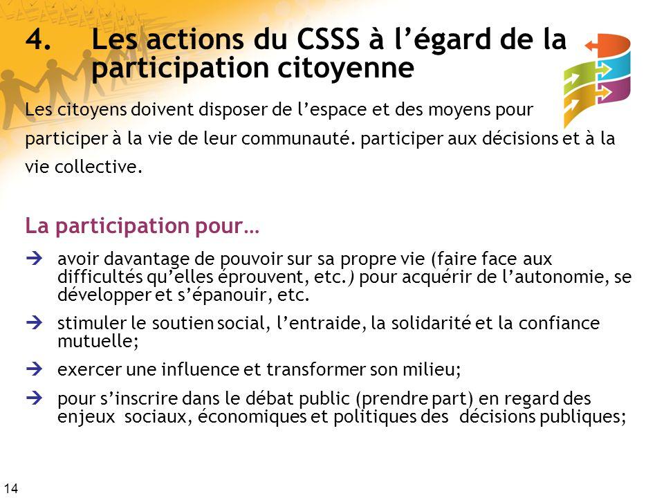 14 4.Les actions du CSSS à légard de la participation citoyenne Les citoyens doivent disposer de lespace et des moyens pour participer à la vie de leur communauté.