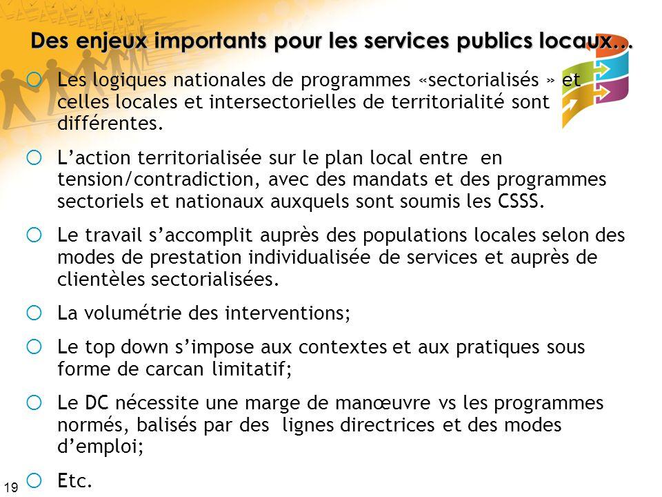 19 Des enjeux importants pour les services publics locaux… Les logiques nationales de programmes «sectorialisés » et celles locales et intersectorielles de territorialité sont différentes.