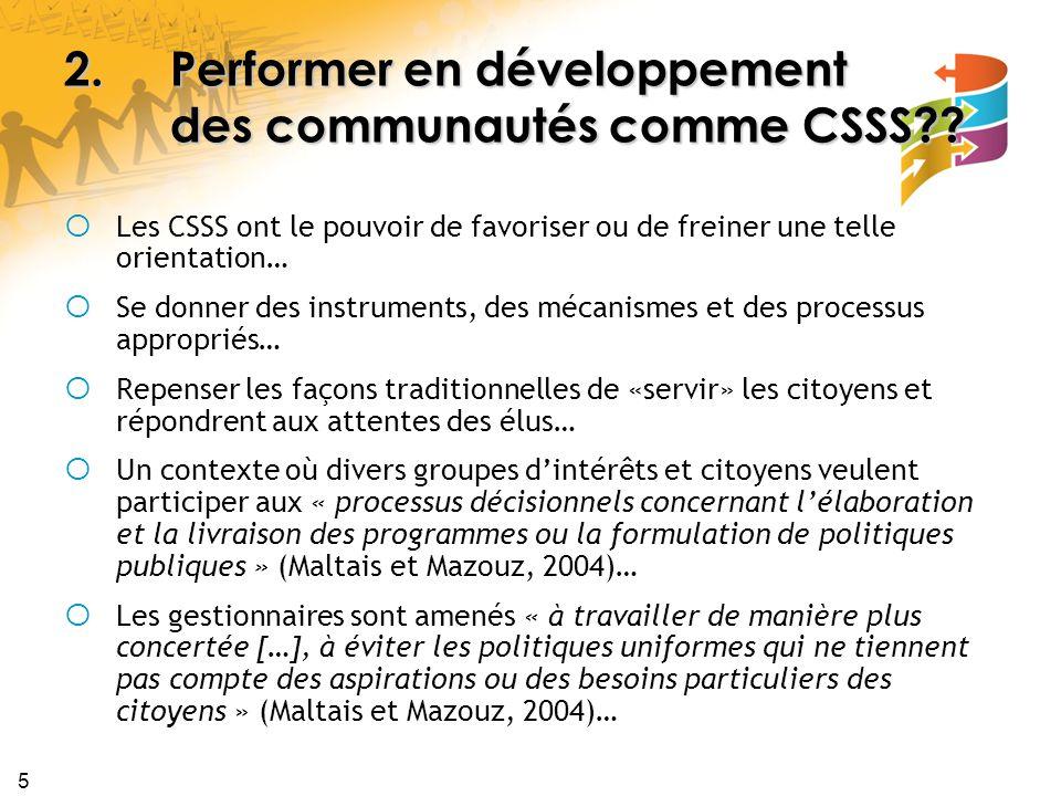 5 2.Performer en développement des communautés comme CSSS .