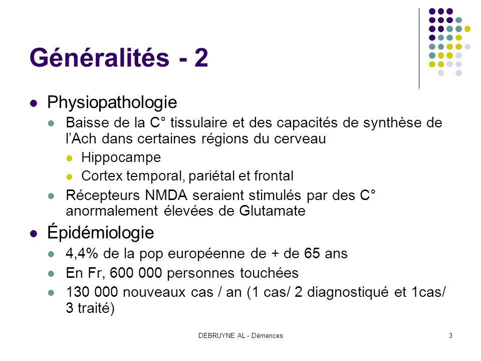 DEBRUYNE AL - Démences3 Généralités - 2 Physiopathologie Baisse de la C° tissulaire et des capacités de synthèse de lAch dans certaines régions du cer