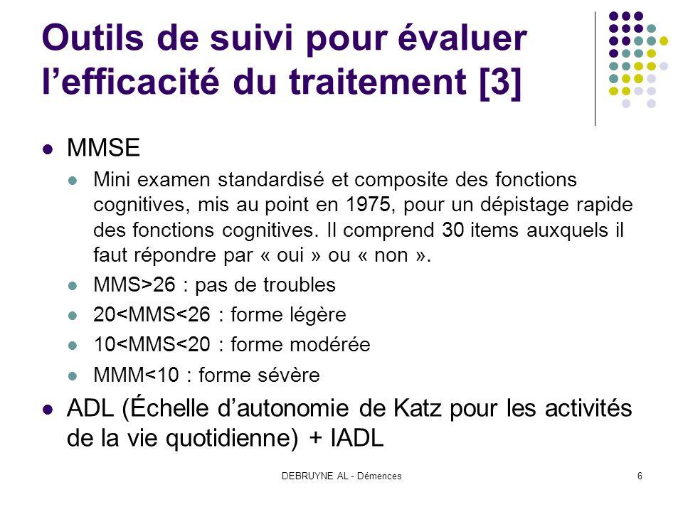 DEBRUYNE AL - Démences6 Outils de suivi pour évaluer lefficacité du traitement [3] MMSE Mini examen standardisé et composite des fonctions cognitives,