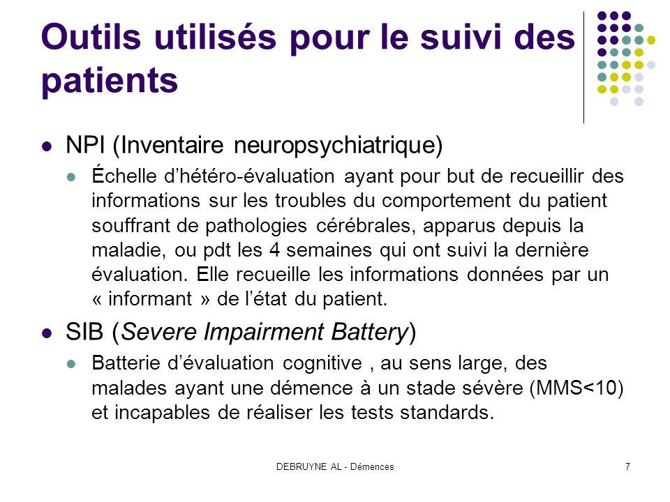 DEBRUYNE AL - Démences7 Outils utilisés pour le suivi des patients NPI (Inventaire neuropsychiatrique) Échelle dhétéro-évaluation ayant pour but de re