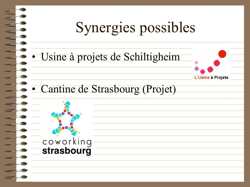 Synergies possibles Usine à projets de Schiltigheim Cantine de Strasbourg (Projet)
