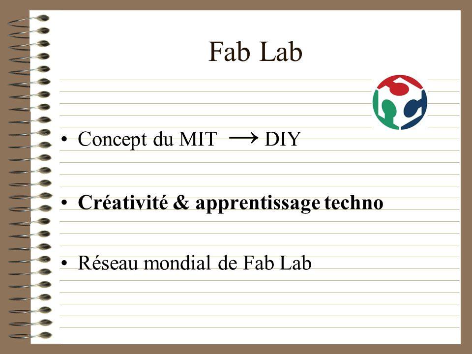 Fab Lab Concept du MIT DIY Créativité & apprentissage techno Réseau mondial de Fab Lab