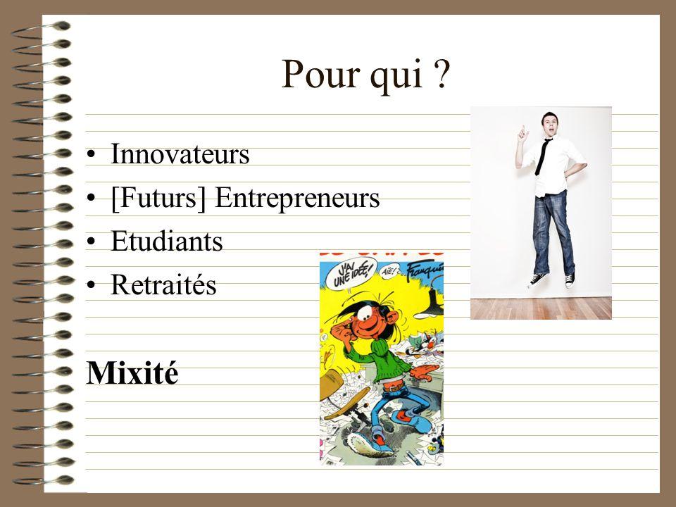 Pour qui Innovateurs [Futurs] Entrepreneurs Etudiants Retraités Mixité