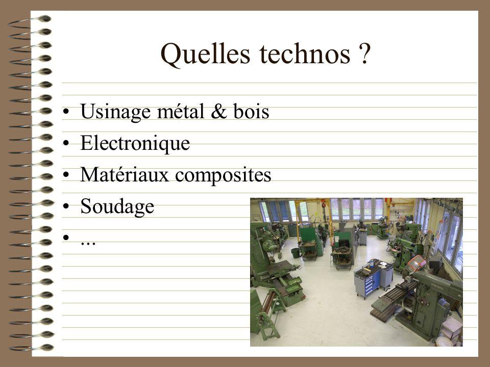 Quelles technos Usinage métal & bois Electronique Matériaux composites Soudage...